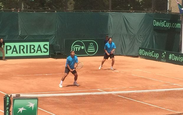 Daniel Llarenas and Brett Baudinet competing for Pacific Oceania at the Davis Cup tie in Iran.