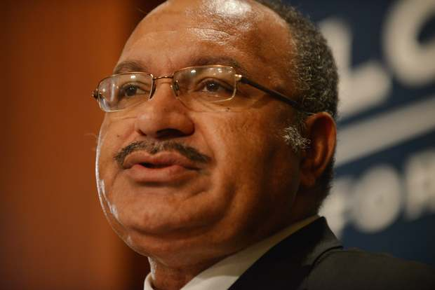 Papua New Guinea Prime Minister Peter O'Neill gives a talk at the Lowy Institute in Sydney on May 14, 2015.