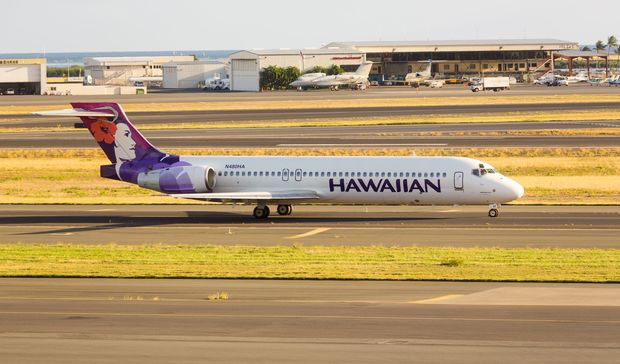 Hawaiian Airline Boeing 717 at Honolulu International Airport on 23 January 2013.