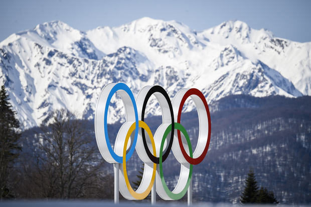 The Olympic rings near Sochi during the 2014 Olympics.