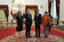 Prime Minister John Key and Indonesian President Joko Widodo after their meeting in Jakarta on Monday.