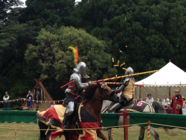 Jousters in action at the tournament in Upper Hutt.