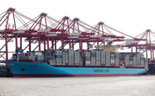 One of the Maersk 9500 ship line which are set to start visiting Port of Tauranga from the end of September.