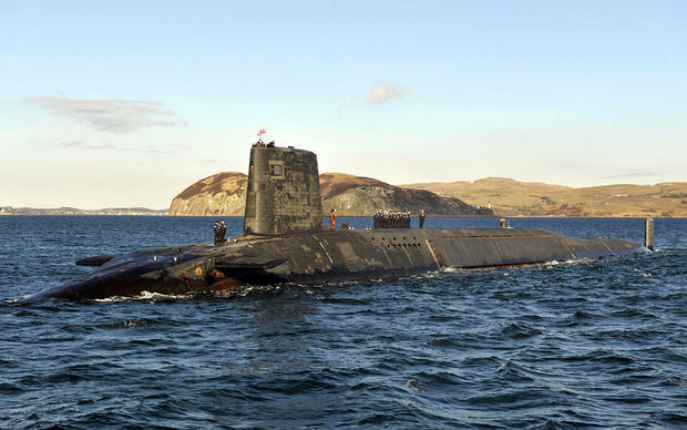 Trident Nuclear Submarine HMS Victorious on patrol off the west coast of Scotland.
