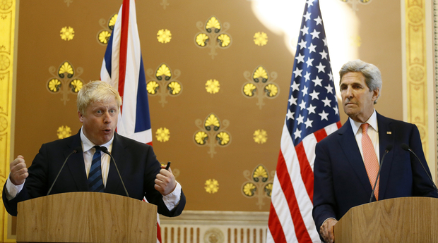 British Foreign Secretary Boris Johnson, left, and US Secretary of State John Kerry at a joint media conference following their meeting in London on 19 July 2016.