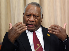 Vanuatu President Baldwin Lonsdale speaks during an interview with Agence France-Presse in his hotel room minutes before his departure to return home after attending the third UN World Conference on Disaster Risk Reduction in Sendai on March 16, 2015.
