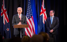 US Vice President Joe Biden speaks in Auckland. Pictured with Foreign Affairs Minister Murray McCully.