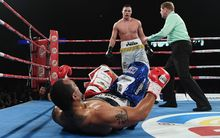 Joseph Parker floored Solomon Haumono in the fourth round.