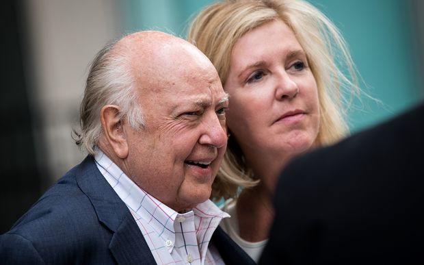 Roger Ailes, at left, with wife Elizabeth Tilson leaving  the News Corp building in New York, 19 July 2016.