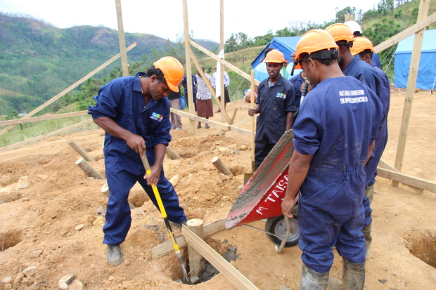 The new Tukuraki village foundations are laid. The village was wiped out by a landslide four years ago.