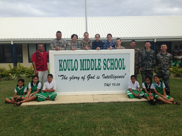 Members of a multi-national task force led by the New Zealand Defence Force recently visited primary and secondary schools in one of the main islands in Tonga's Ha'apai island group.
