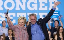 Hillary Clinton and Tim Kaine during a recent campaign rally at Ernst Community Cultural Center in Annandale, Virginia.