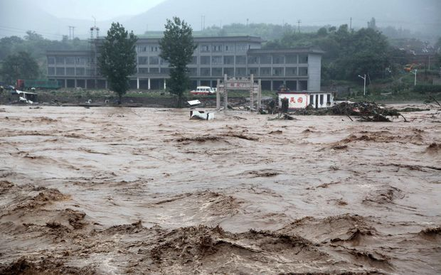 Floods in Jingxing County of Shijiazhuang City, north China's Hebei Province on Wednesday.