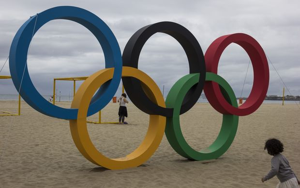 Olympic rings made of recycled plastic installed on Copacabana Beach.