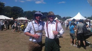 Festival-goers get into the spirit at the Great Kiwi Beer Festival in Christchurch on Saturday.