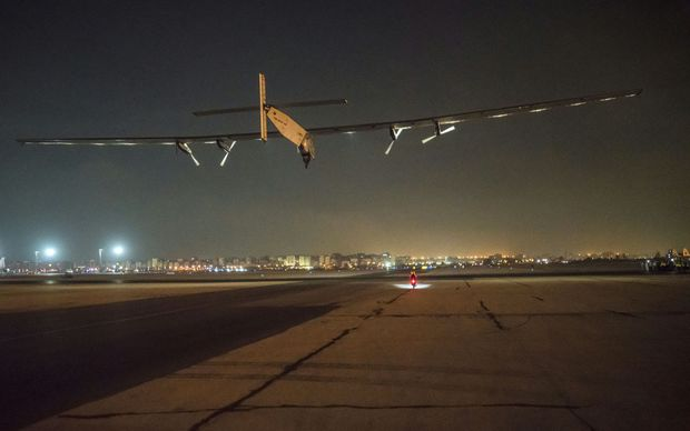 Solar Impulse 2 takes off from Abu Dhabi to begin its journey around the globe without fuel.