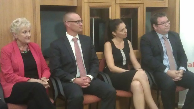 Annette King, David Clark, Jacinda Ardern and Grant Robertson at the reshuffle announcement.