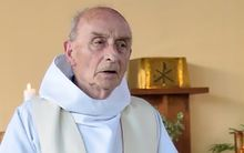 Father Jacques Hamel celebrating a mass in the church of Saint-Etienne-du-Rouvray in June.
