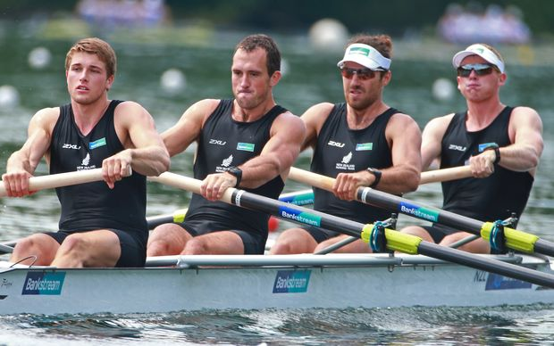 New Zealand Men's Four, Anthony Allen, Patrick Mcinnes, Axel Dickinson and Drikus Conradie. May 2016.