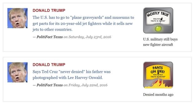 Screenshot of Politifact's verdicts on two controversial claims by Donald Trump.