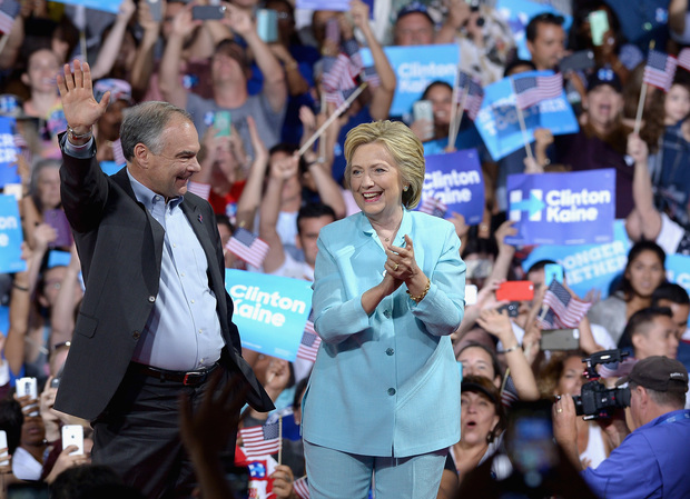 Democratic presidential candidate Hillary Clinton and vice presidential candidate Tim Kaine at a campaign rally in Florida.