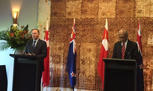 The Tongan Prime Minister 'Akilisa Pohiva in Auckland with New Zealand Prime Minister John Key