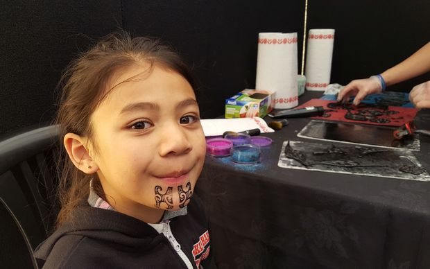 Rangatahi were getting inked up with temporary moko for their performances.