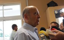 French Presidential hopeful Alain Juppé speaking to media in French Polynesia.