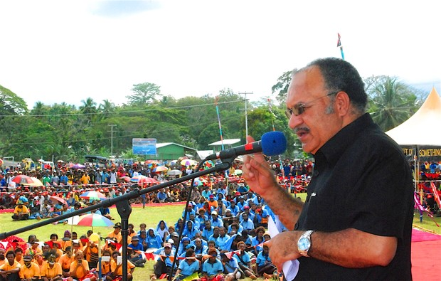Papua New Guinea prime minister Peter O'Neill addresses a crowd in East Sepik.