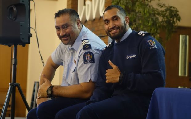 Sergeant Sonny Iosefo and Sergeant Sanalio Kaihau at a recent fono for New Zealand police in Auckland.
