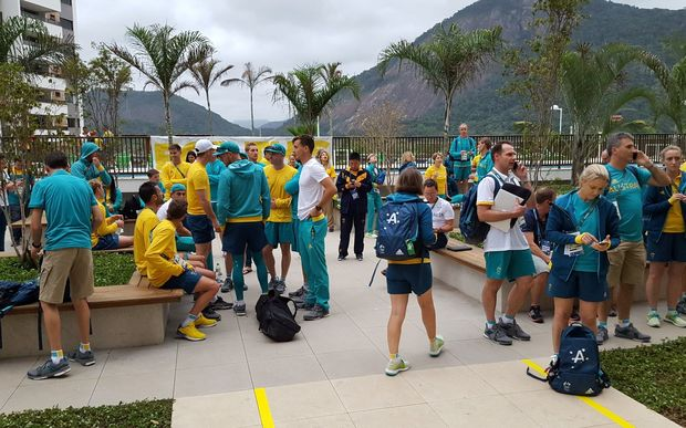 The Australian Olympic team were briefly evacuated from their building at the Olympic Village.
