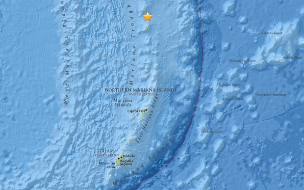 The epicentre of this morning's 7.7 earthquake in the Northern Marianas near the island of Agrihan, north of Saipan and Guam.