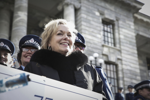 01082016 Photo: Rebekah Parsons-King. Police Parade celebrating 75 years of women being in the police force. Judith Collins,  Minister of Corrections and Police.