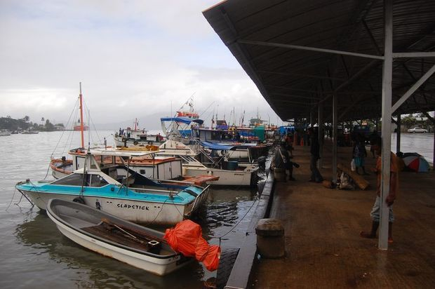 Boats at the port of Alotau in Milne Bay Province, Papua New Guinea, 2011.