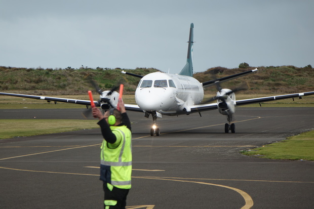 The arrival of the first Air Chathams plane at Whanganui airport.
