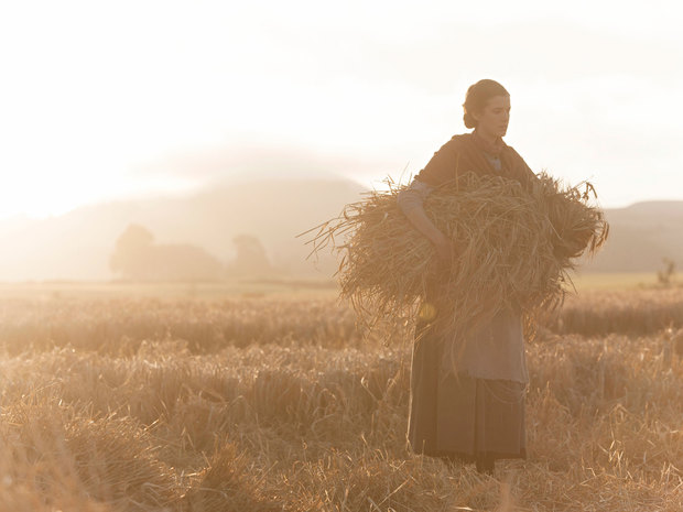 Agyness Deyn bringing in the sheaves in Terence Davies' Sunset Song
