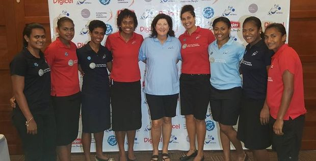 Fiji netball coach Vicki Wilson with some of her Pearls players.