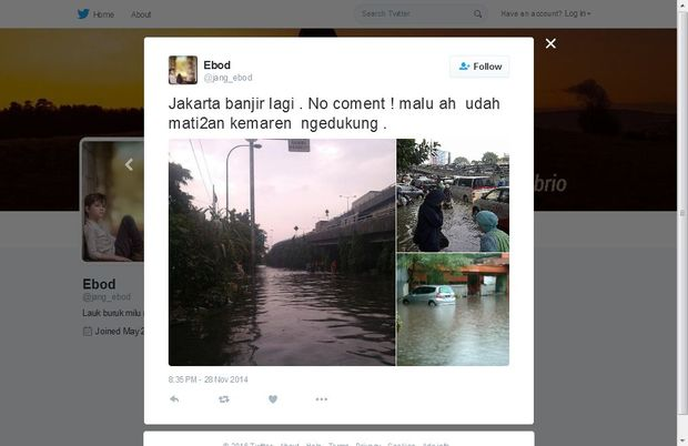 Jakarta flood photo on Twitter