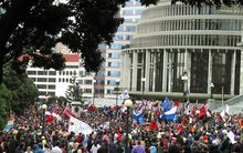 An estimated 10,000 plus crowd of Maori demonstrators crowd the grounds of parliament after a Hikoi (walk of hope) that has taken them from the top to the bottom of New Zealand's North Island in protest to the proposed seabed and foreshore legislation, 05 May 2004.