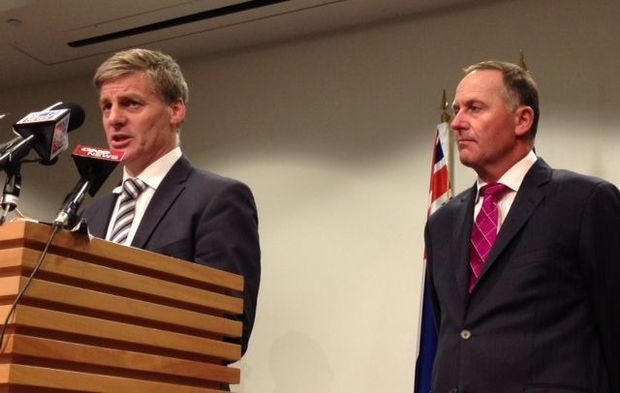 Finance Minister Bill English, left, and Prime Minister John Key reveal details of the sale at Parliament.