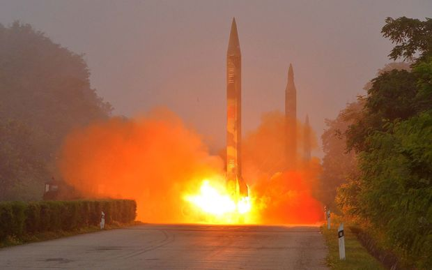 This undated file photo released by North Korea's official Korean Central News Agency (KCNA) on July 21, 2016 shows a missile fired during a drill by Hwasong artillery units of the Strategic Force of the Korean People's Army.