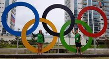 Cook Islands paddlers Ella and Bryden Nicholas at the Olympic Village in Rio.