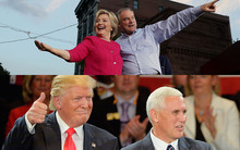 US presidential candidates Hillary Clinton and Donald Trump, and their running mates Tim Kaine and Mike Pence.