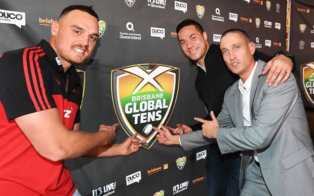 Israel Dagg Joseph Parker and Duco founder David Higgins at the Tens announcement.