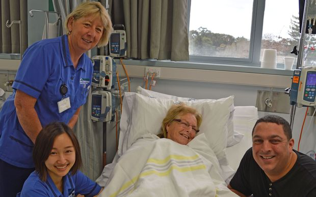 Vivian Armstrong, the first Waikato patient to receive a new drug to treat advanced melanoma, Opdivo, at Waikato Hospital recently. With her are nurses Nancy Yang (front) with Joy Utting and Vivian Armstrong's son Deen.