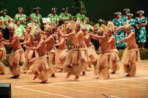 Dancers at the 51st anniversary of self-governance with the annual Constitution Day ceremony at the National Auditorium on main island Rarotonga.