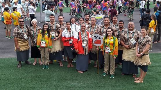 Team Tonga at their Welcoming Ceremony in the Olympic Village.