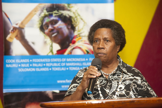 Merilyn Tahi Director Vanuatu Women's Centre speaks at the launch.