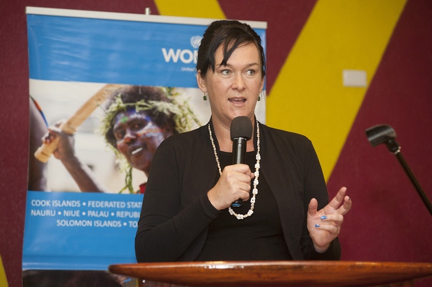 UN Women Multi Country Representative Aleta Miller speaking at the launch