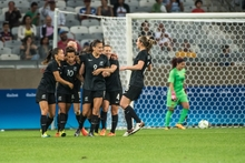 New Zealand's Amber Hearn celebrates her goal during the Rio 2016 Olympic Games first round Group G women's football match Colombia vs New Zealand at the Mineirao stadium in Belo Horizonte, Brazil on August 6, 2016.